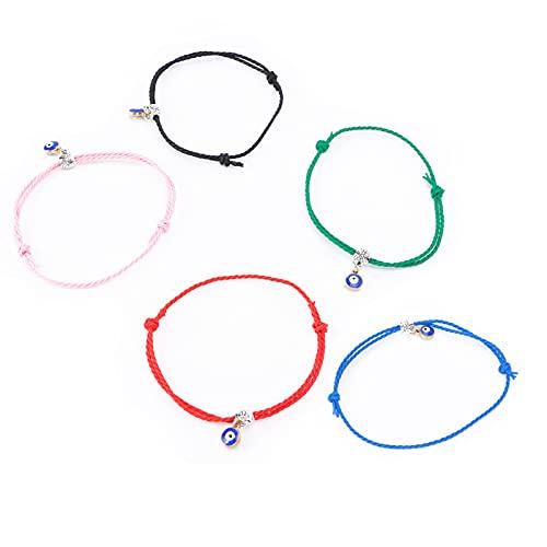 Pulsera de cuerda ajustable, pulseras de cuerda de nailon, 7 colores para cumpleaños, festivales, aniversario, boda, compromiso, día de San Valentín, Navidad para hombres, mujeres