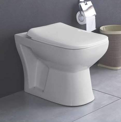 B BACKLINE Ceramic Floor Mounted European Water Closet S Trap/One Piece Western Toilet Commode with Soft Close Seat Outlet is from Floor (54 x 36 x 41 cm, White)