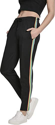 Urban Classics Damen Shorts Ladies Multicolor Side Taped Track Pants Shorts, Schwarz, Größe: L