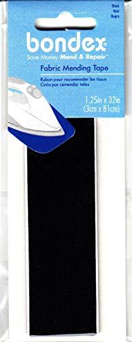 BONDEX BLACK FABRIC 1 1/4' X 32' IRON ON MENDING TAPE - Clothing, Repair, Mend,