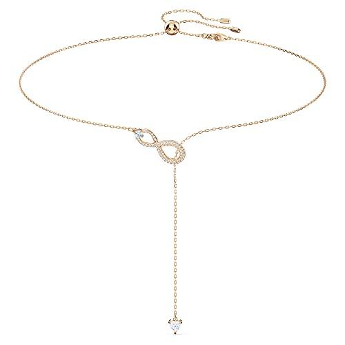 Swarovski Collar en Y Swarovski Infinity, blanco, baño tono oro rosa
