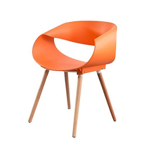 zyy Set di 2 Pezzi Sedie da Pranzo Gambe di Legno Plastica Schienale Bracciolo Sedia per Ufficio (Carico di 120 kg) (Color : Orange)