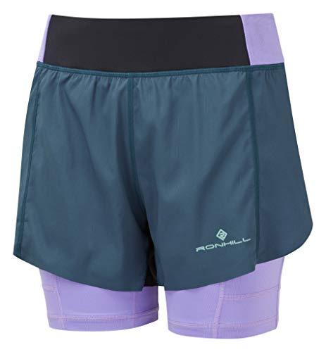 Ronhill Pantalones Cortos Wmn's Tech Ultra Twin para Mujer, Mujer, Pantalones Cortos, RH-005335, Peacoat/Lila, 44