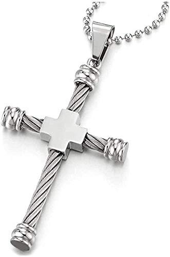 YOUZYHG co.,ltd Conjunto de Collar con Colgante de Cruz de Acero Inoxidable para Hombre con Cable Trenzado de Acero de 30 Pulgadas con Cadena de Bolas