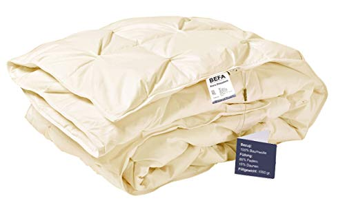 BEFA Daunen Feder Bettdecke 135 x 200 Zudecke Decke Winter Bettdecke atmungsaktiv (Creme)