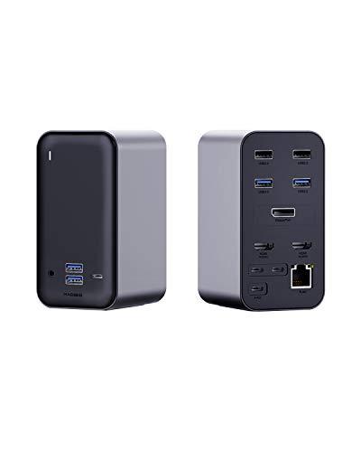 Hagibis Dual USB C Base de acoplamiento, 4K Triple Display Monitor USB-C Hub, no requiere alimentación para MacBook Mac OS, Windows con 2 HDMI, DP, USB-C 3.0, 87W PD, RJ45, AUX, 6 puertos USB (4K/60Hz DisplayPort)