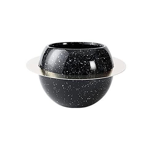 Macetero de hierro con diseño de planeta de cerámica para plantar suculentas, para interiores y exteriores, color negro, blanco, para decoración del hogar (color: negro, tamaño: grande)