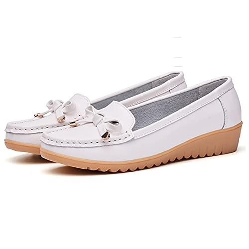 zhangxia Zapatillas de Correr Hombre Zapatos Casuales de Moda de Boca Baja de Cuero de Alta Pendiente para Mujer