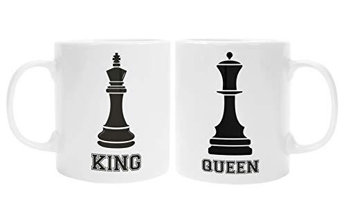 Colorfamily Coppia Tazze Mug SanValentino King & Queen - Scacchi - Idea Regalo per Lui e lei