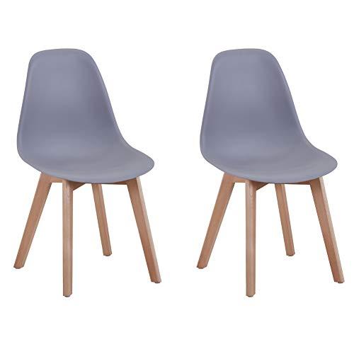 GOLDFAN 2er Set Esszimmerstuhl Moderner Wohnzimmerstuhl Plastik Stuhl Küchenstühle mit Holzbeine, Grau 2