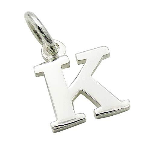 小さなアルファベットのチャーム (1) 「K」 ステンレスチェーンセット ゴシック体 ネックレス シルバー925 60cm