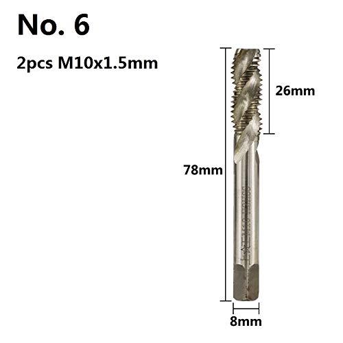 Nologo ZFX-WUJIN, 2 Stück M3 M4 M5 M6 M8 M10 Rechte Hand Maschinenstecker Tap HSS Spiral Flute Gewindebohrer metrische Schraubengewinde Gewindebohrer (Size : M10x1.5)