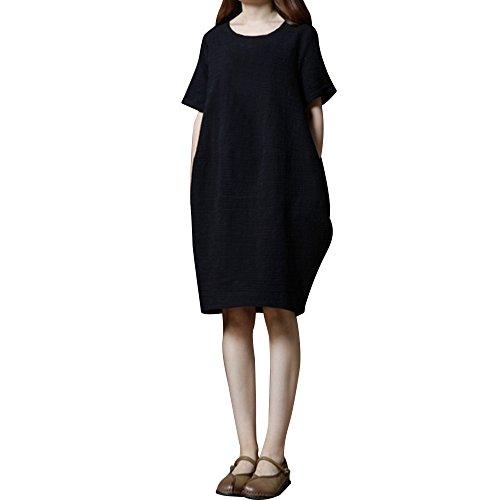 YCQUE Damenmode Lässig Täglich Zuhause Plus Größe Lose Feste Vintage Retro Kurze Kurze Tasche Baumwolle Casual Dress Solide Kurzarm Oansatz T-Shirt Kleid
