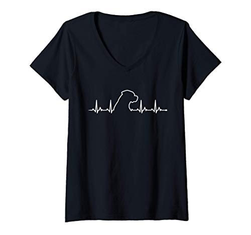 Mujer Perros Rottweiler de latidos de corazón Perros EKG de regalo Camiseta Cuello V