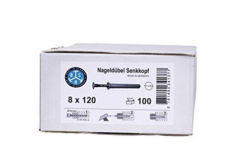 Nageldübel Schlagdübel 6 x 40 bis 8 x 120 mm, MADE IN GERMANY, 100 Stück, (Auswahl: 8 x 120 mm) Senkkopf Kreuzschlitz, Nylon-Dübel, 100% Made in Germany - 100% Qualität