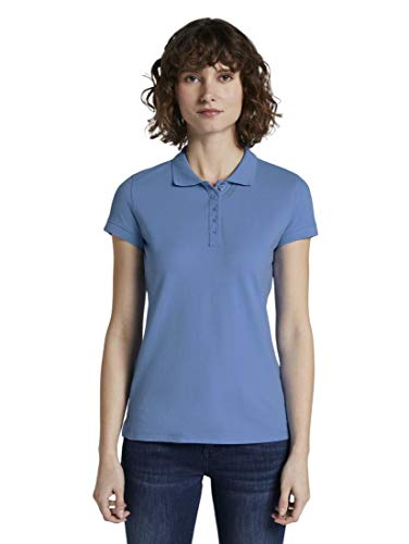 TOM TAILOR Damen Poloshirts Strukturiertes Polo-Shirt sea Blue,XL,15497,6000