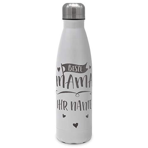 printplanet - Isolierte Trinkflasche mit Text oder Namen graviert - Edelstahl Thermo-Flasche mit Gravur, 500ml - Weiß - Motiv: Beste Mama