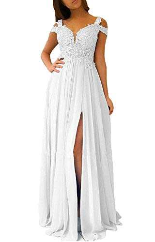 Miao Duo Women's Long Side Split Lace Applique Off Shoulder Empire Waist Prom Celebrity Dresses Maxi Wedding Formal Party Gowns White 12