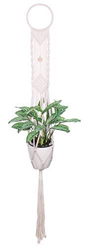 Luxbon Makrame bloemenampel katoenen koord plantenhanger bloempot houder voor binnen buiten plafond balkon wanddecoratie 48''' (122cm)