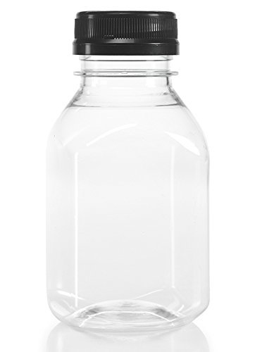 (12) 8 oz. Clear Food Grade Plastic Juice Bottles with Cap (12/Pack) (Black)