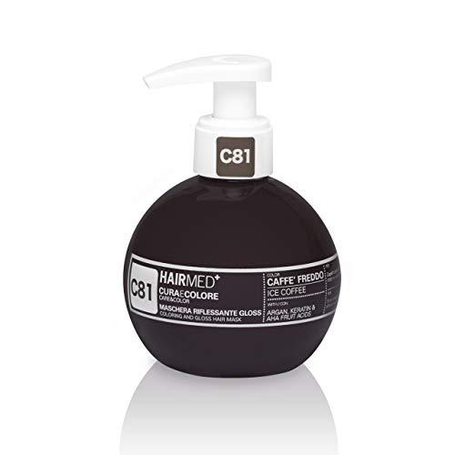 HAIRMED - Cura e Colore - Maschera Riflessante Capelli - Bagno di Colore Senza Ammoniaca - Gloss C81 - Caffè Freddo - 200 ml