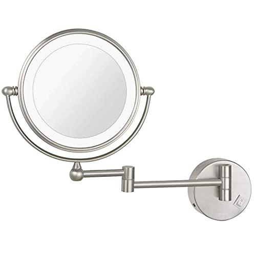 NHLBD LIHAIHAI Beautiful Fashion Espejo de Maquillaje, Espejo de Maquillaje Redondo, rotación 360, Ideal para aplicar Maquillaje, contactos con contactos y Afeitado, Enchufe Alimentado