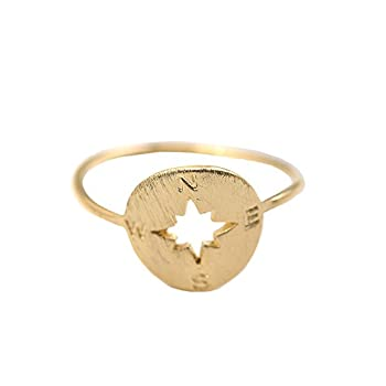 Spinningdaisy Handmade Brushed Metal Never Lost Compass Ring Gold