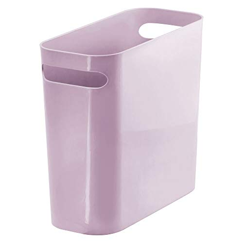 mDesign Slim Plastic Rectangular Small Trash Can Wastebasket, Garbage Container Bin with Handles for Bathroom, Kitchen, Home Office, Dorm, Kids Room - 10' High, Shatter-Resistant - Light Purple