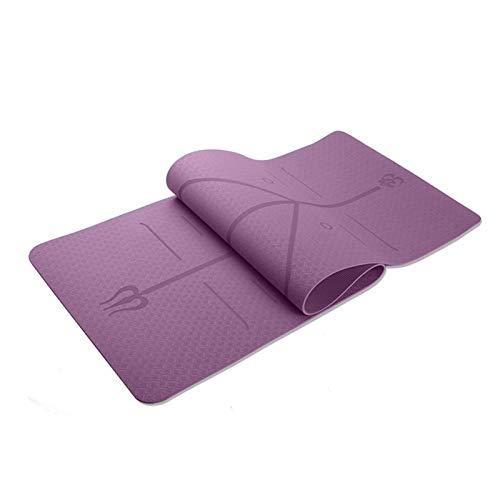 WXL Estera De Yoga 6mm Yoga Colchoneta de Ejercicio del cojín Antideslizante Plegable Gym Fitness Pilates Material Antideslizante pavimento Deportivo Yoga Mat Colchoneta De Ejercicio (Color : Purple)