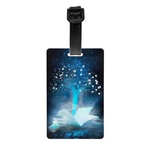 Juego de 2 etiquetas de equipaje, Dark Night Magic Scene, libro abierto, tarjetas de identificación de equipaje con correa de muñeca desmontable y tarjeta de dirección para bolsa de viaje, maleta