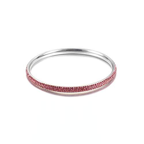 Glamour & Shine~ Elegantes Armband Armreif aus hochwertigen Chirurgenstahl für Frauen Damenschmuck in Silber verziert mit Rosa Kristallen