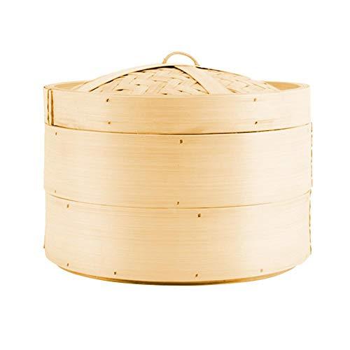 Ardentity Bambus Dampfkorb, Bamboo Steamer für Dim Sum, Dumplings, Gemüse & Fisch, Traditioneller Bambusdämper für die Asiatische Küche