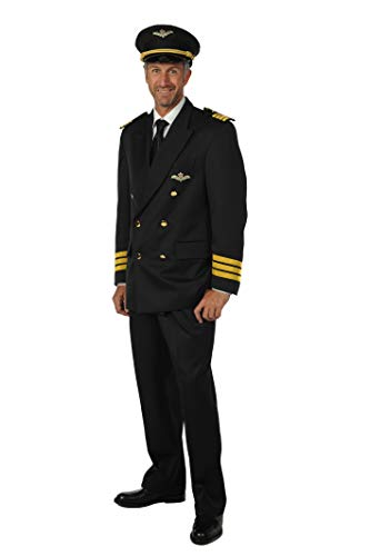 Piloten-Kostüm Herren-Anzug Blau Pilotenjacke Hose (ohne Piloten-Mütze) Karneval Fasching Hochwertige Verkleidung Fastnacht Größe XL Marineblau