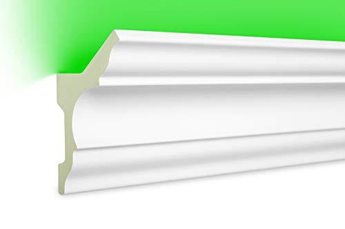 HEXIM LED Stuckleisten aus PU - Indirekte Beleuchtung mit modernen Deckenleisten, lichtundurchlässig, leicht und schlagzäh - (20 Meter Sparpaket LED-4 80x48mm) Zierprofil, Stuck, Deckenbeleuchtung