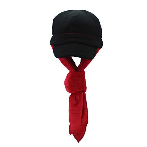 JXFM outdoor muts winter volwassenen wolvlies muts wintermuts sjaal muts hals oorbeschermer zwart rood code
