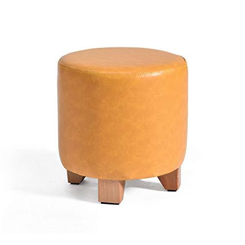 LAOMAO PU Kunstleer Ronde Voetenbank Minimalistische Stijl Verander Schoenen Kruk Kinderstoel voor Woonkamer Slaapkamer Zithoogte 30/35cm 35CM Yellow Beige