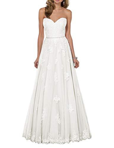 HUINI Brautkleid Tüll Lang Hochzeitskleid Prinzessin Spitze Standesamtkleid Schlicht Brautmode Kleid Rückenfrei Elfenbein 44