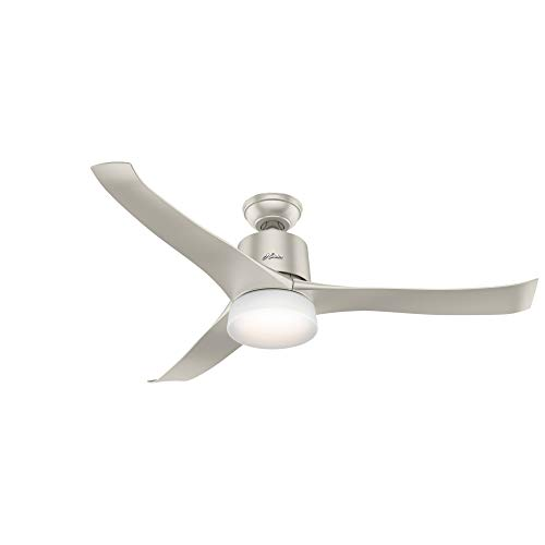 "Hunter Fan Company 59376 Handfield Wi-Fi Enabled Home Kit Compatible Symphony Ceiling Fan with Light with Integrated Control System, 54"", Nickel"