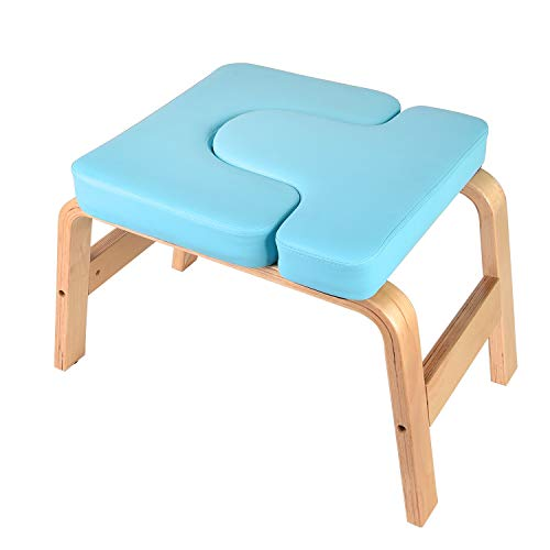 Yoga Headstand Bench Stand Yoga Chair for Family, Gym - Wood and PU Pads