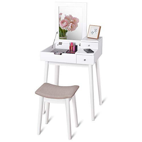 COSTWAY Schminktisch weiß, Frisiertisch Set mit Klappspiegel, Kosmetiktisch mit Schubladen, Frisierkommode mit Schminkhocker, Schminkkommode aus Holz (Modell 1)