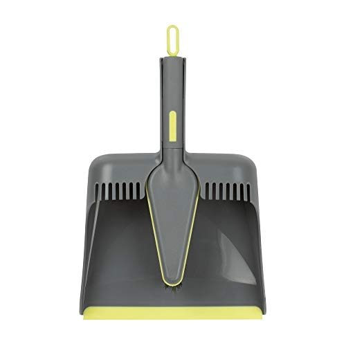 Casabella Wayclean Handheld Angled, Medium, Gray Dustpan and Brush Set, Green and Taupe