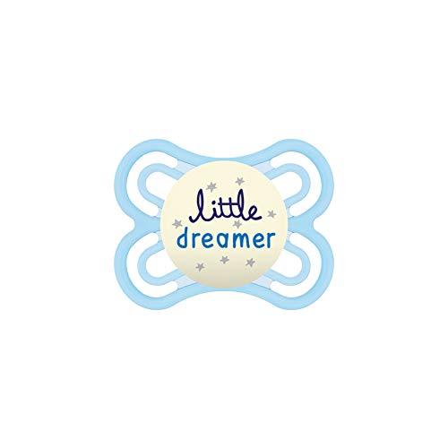 MAM Perfect Night Schnuller, beugt Zahnfehlstellungen vor, besonders dünner & flexibler Silikonschnuller, leuchtet im Dunkeln, ab der Geburt, Little Dreamer