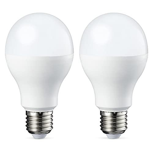 Amazon Basics Lampadina LED E27, 14W (equivalenti a 100W), Luce Bianca Calda - Pacco da 2