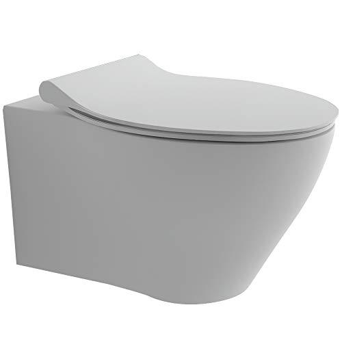 Spülrandloses & Wandhängendes Raumspar-WC integrierter Bidet-Taharet Funktion mit verstellbarer Düse + Duroplast Abnembarer WC-Sitz inkl. Soft-Close-Funktion   Formschönes Design   Reinigungsfreundlich und Hygienisch   passend zu GEBERIT