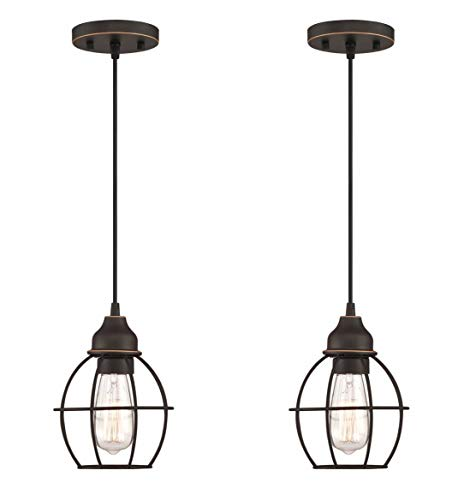 WISBEAM Pendant Lighting Fixture with Oil Rubbed Bronze Finish, Hanging Lights with One Medium Base Max. 60 Watts, ETL Rated, Bulbs not Included, 2-Pack