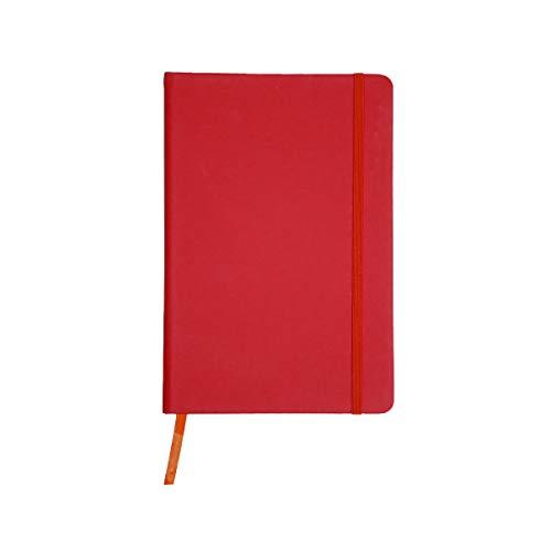 Projects Notizbuch 'Business' DIN A5 - liniertes umweltfreundliches 80 g/m2 FSC-Papier 192 Seiten, Hardcover mit Softtouch-Bezug aus PU & Lesezeichen & Verschlussband – vielseitig verwendbar (rot)