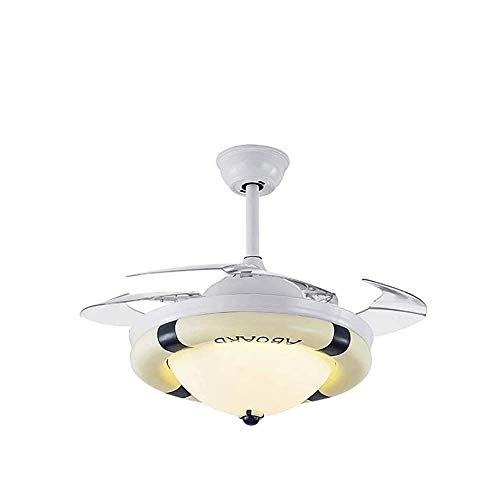 Life Accessories - Ventilador de techo moderno de 36 '42' con luz, control remoto, cambio de 3 colores, juego de 3 velocidades, ventilador de dormitorio, candelabro, cuchilla retráctil, motor silen