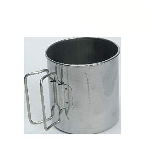 Edelstahlbecher mit klappbaren Griffen, 8 cm hoch, max. 300 ml: Camping Tasse Edelstahl Becher Kaffeetasse Campinggeschirr Trinkbecher