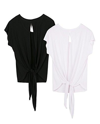 icyzone Damen Rückenfrei Sport T-Shirt Kurzarm Oberteil Yoga Tops Casual Shirt Loose Fit, 2er Pack (XL, Black/White)
