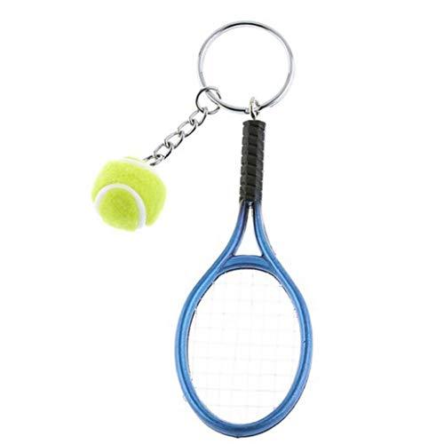 Zonfer Raqueta De Tenis Llavero, Llavero Creativo Deporte Llavero Llavero Pelota De Tenis, Colgante del Bolso (Azul)